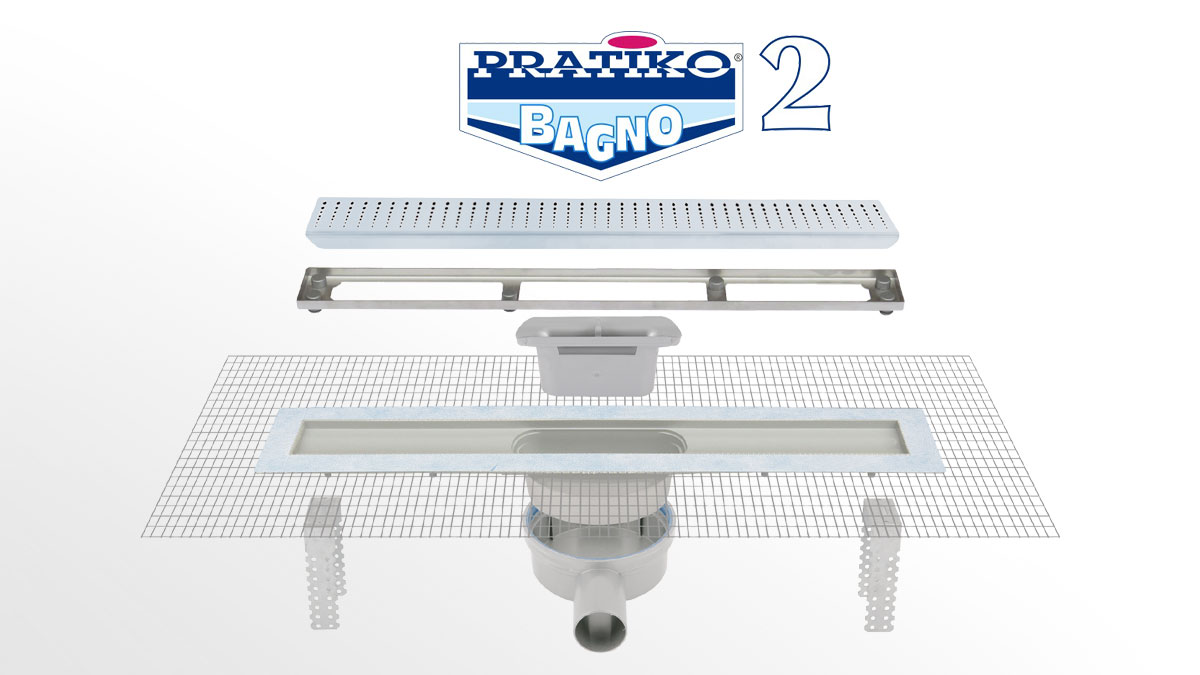 Pratiko Bagno 2 ABS shower channel with stainless steel grid