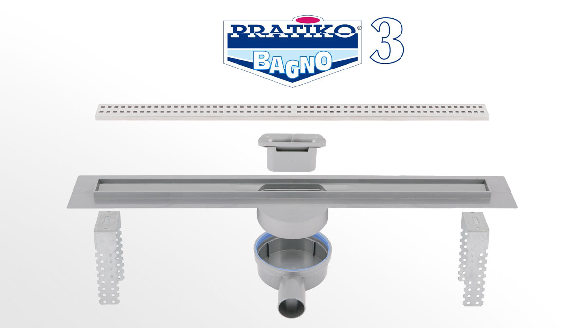 Pratiko Bagno 3 ABS shower channel with stainless steel grid